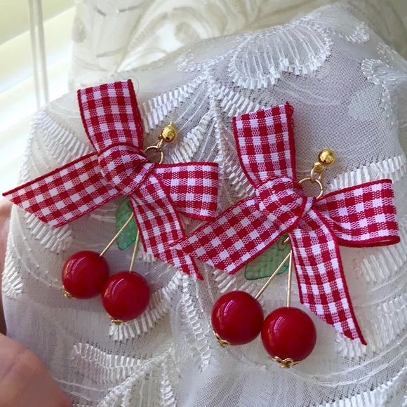 Leoninus Jewelry - ☀️NEW☀️🍒CHERRIES🍒Red Gingham Bow Earrings